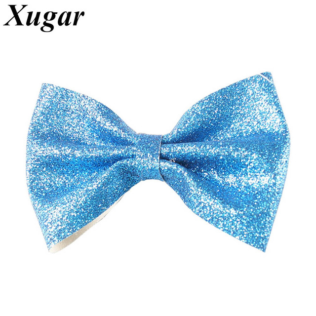 3 Pcs/Lot 5'' Fashion High Quality Solid Shiny Glitter Hair Bow With Clips For Girls Princess Hair Accessories