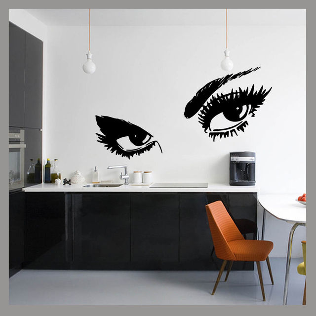 Grandes dames yeux glam beaut pop wall art decal sticker mural chambre decal vinyle transfert - Pochoir mural chambre ...