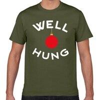 Tacky Christmas Shirt Well Hung Xmas Tee Men Woman Gift Funny Shirts Men Short Interesting Printing