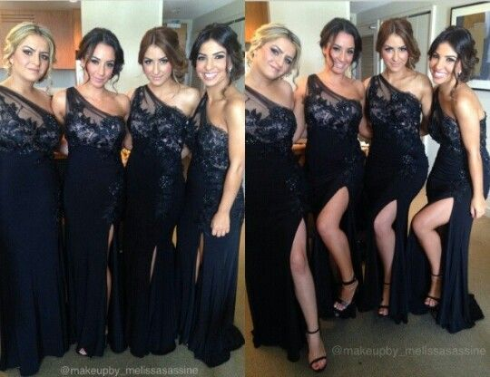 Charming One Shoulder Black Lace Floor Length Bridesmaid Dress Cusom Made Long For Wedding Party