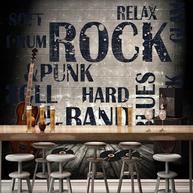 photo papier peint europ enne american style industriel ciment mur murale rock guitare bar caf. Black Bedroom Furniture Sets. Home Design Ideas