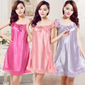 2016 summer women sexy silk satin night gown sleeveless nightdress lace sleep dress v neck nighties night shirt fashion sleepwea