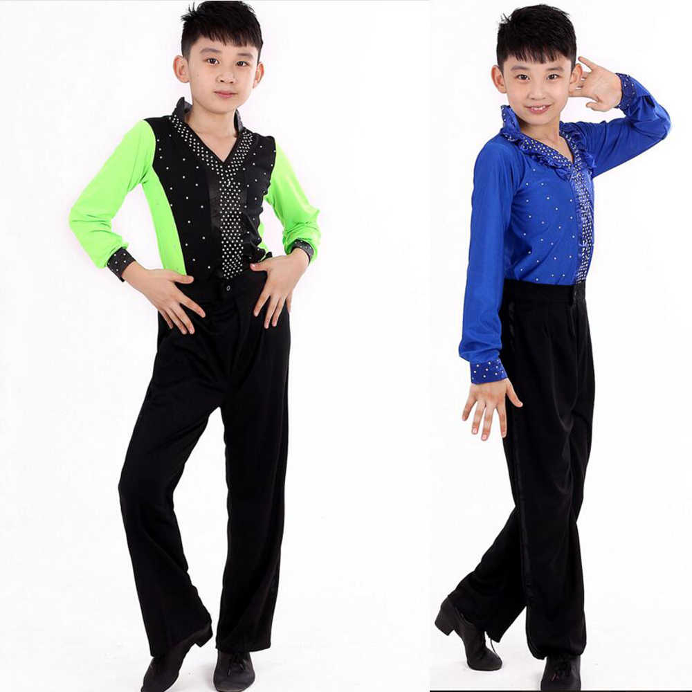 1b3316a27555 ... Boys Latin Dancing Costumes Kids Children Latin Salsa Practice Dance  Clothes (Tops+Pants) ...