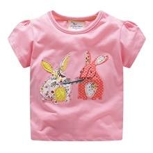 2019 New short sleeve sport t-shirt for girls birthday t-shirt s for girls applique cartoon sweet 2019 summer children tshirts