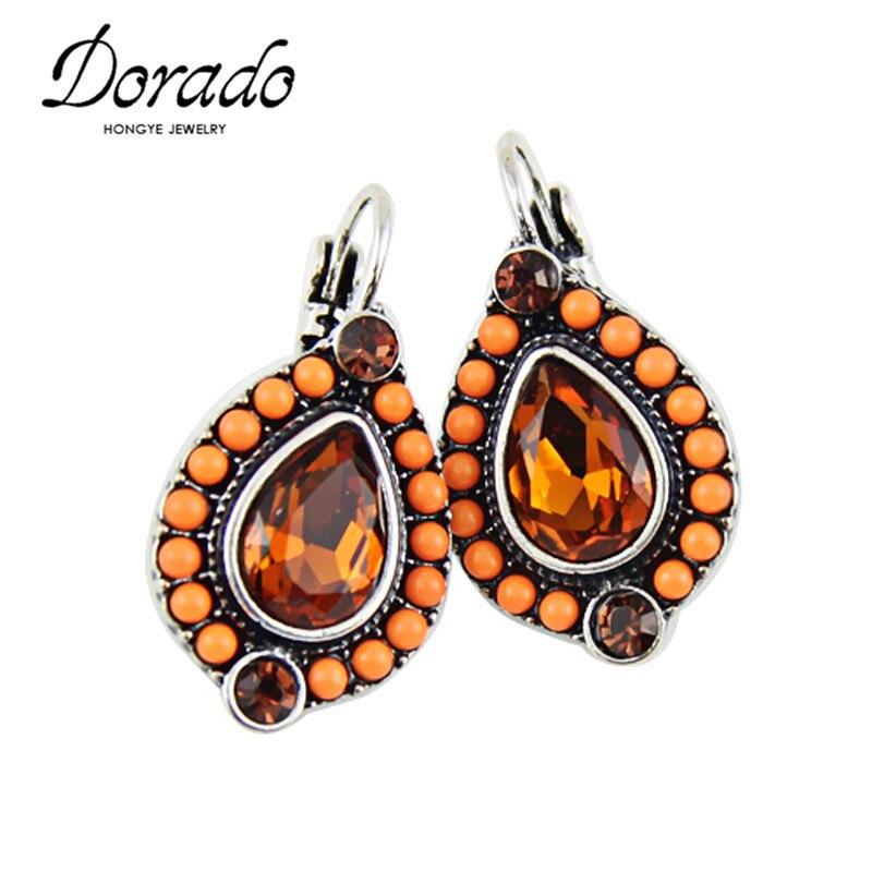 Crystal Zircon Resin Beads Drop Earrings For Women Gold Silver Color Alloy Female Dangle Hanging Earring Ear Jewelry Brincos