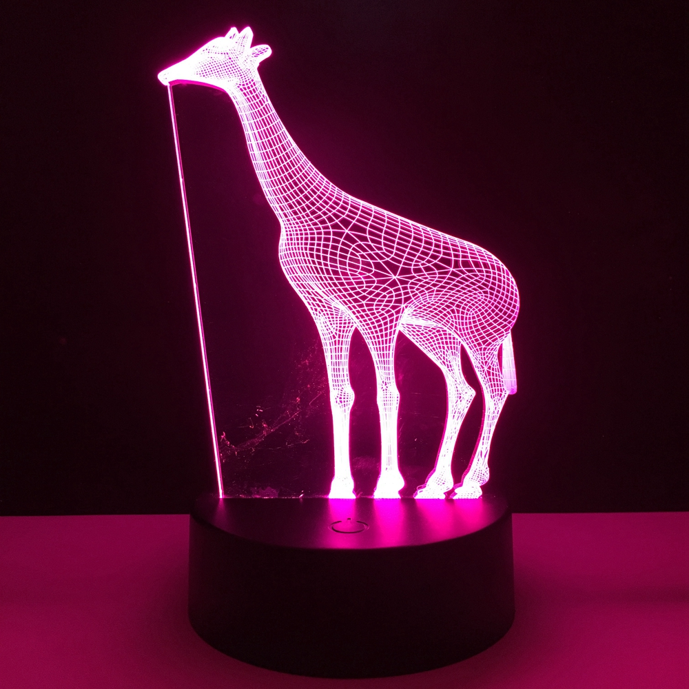 African Animal Giraffe 3D Lamp 7 Color RGB Led Night Lamps for Kids ...