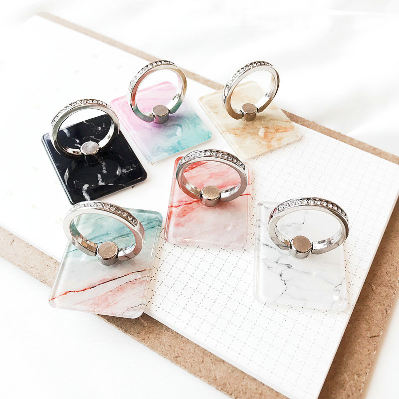 Phone Holder Best Grip Stand Flash Drilling Marble  Bracket  Mobile Phone Holder Ring Stand Flexible 3D  Expanding Tablets Mount