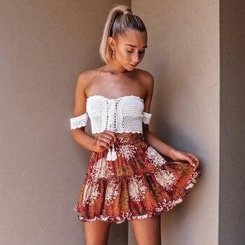 Danjeaner Boho Floral Print Mini Skirt Elastic Waist Tiered Ruffle Short Skirt Women A-line Casual Beach Summer Skirt 2018 ruffle trim asymmetric floral skirt