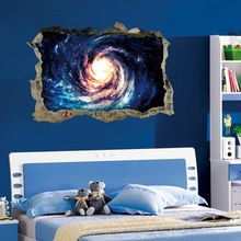 3D Window Broken Wall Stickers Broken Wall Stars Black Hole Vortex Decal for Bedroom Living Room Background Home Decor 3D Mural цена 2017