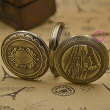 wholesale men Mechanical Pocket Watch train man fob watches steampunk bronze roman antique vintage retro Stylish hand Wind good