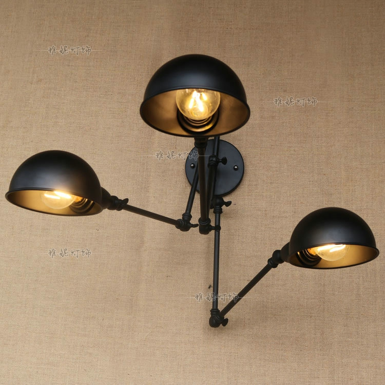 Cafe restaurant loft iron wall light retro study bedside black 3 heads hone bar decorations lighting arm wall lamp ZA