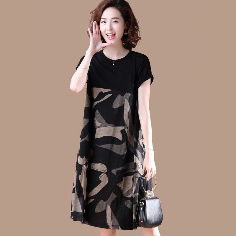 Summer New Plus Size Dress Women Fashion Print Round Neck Dress Women Loose Short Sleeve Dress Female Vestidos DF2507