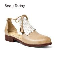 BeauToday Women Sandals Tassels Ankle Straps Cover Heel Genuine Leather Calfskin Sheepskin Brand Shoes Handmade 30046