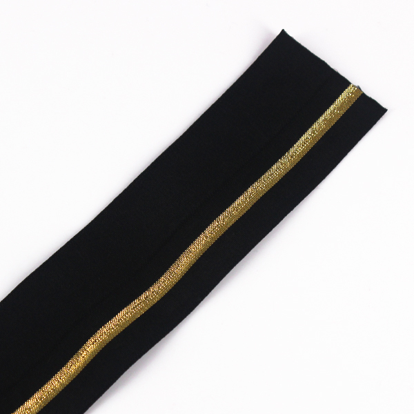 38mm Elastic Stretch Ribbon Tape Black Gold Strap Band