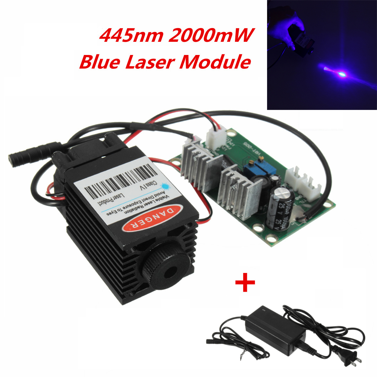 Focusable High Power 445nm 450nm 2000mW 2W Blue Laser Module TTL Driver board For CNC Cutter Engraving Machine diy focusable 5w laser module 5 5w laser module 7w high power for cnc cutter laser engraving machine 2w 2 5w laser module 445nm