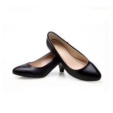 Женская кожа med каблуки 2016 Новая Обувь Высокого Качества Классический Черный и Белый Насосы Обувь для Офиса Женская Обувь