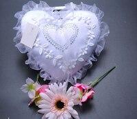 Heart Rhinestone Bridal Ring Pillow Lace Chiffon Wedding Ceremony Satin Ring Bearer Pillow Beaded Wedding Favors