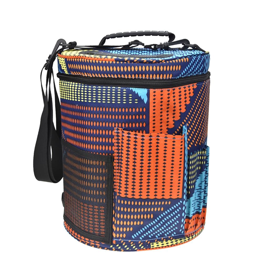 Printed Wool Storage Bag Crocheted Portable Gadget Bucket Tool Storage Organizer Bag Knitting Yarn Ball Holder for Tangling