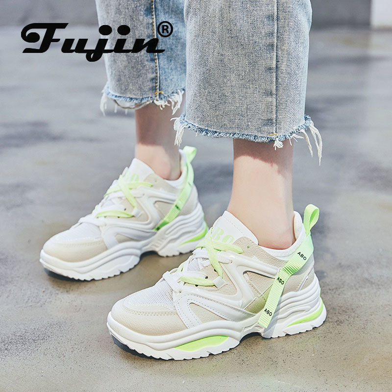 Fujin Shoes Muffin-Bottom Lace-Up Sneaker Women Autumn Fashion Woman Breathable Causal