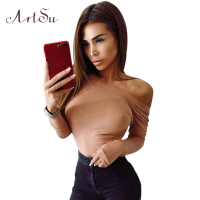 ArtSu Backless Sexy Women Jumpsuit Solid Romper Female Bodysuit Autumn Winter Long Sleeve Skinny Body Top