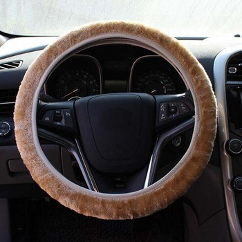 rete 35-40cm Universal Car Steering Wheel Cover antislip fashion short fur elastic Wh image