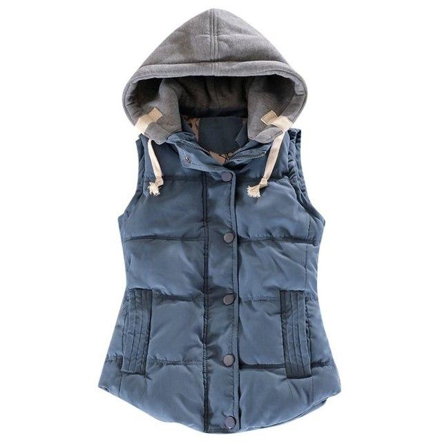 2016 Autumn Winter All-match Cotton Vest Women Patchwork Sleeveless Hooded Collar Casual Coat Colete Feminino Waistcoat