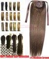 """16 """"-28"""" 100% Brasileiro Remy Grampos de cabelo Em/sobre Extensões de Cabelo Humano Rabo de Cavalo Rabo de Cavalo #4 marrom médio 80g100g 120g140g"""
