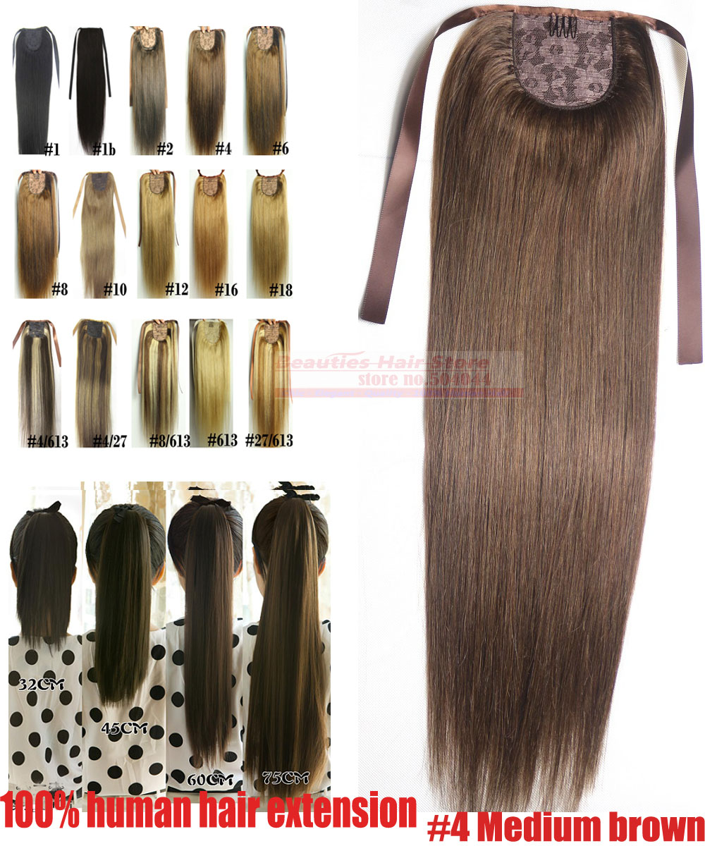 "16""-28"" 100% Brazilian Remy hair Clips In/on Human Hair Extensions Horsetail Ponytail #4 medium brown 80g100g 120g140g"