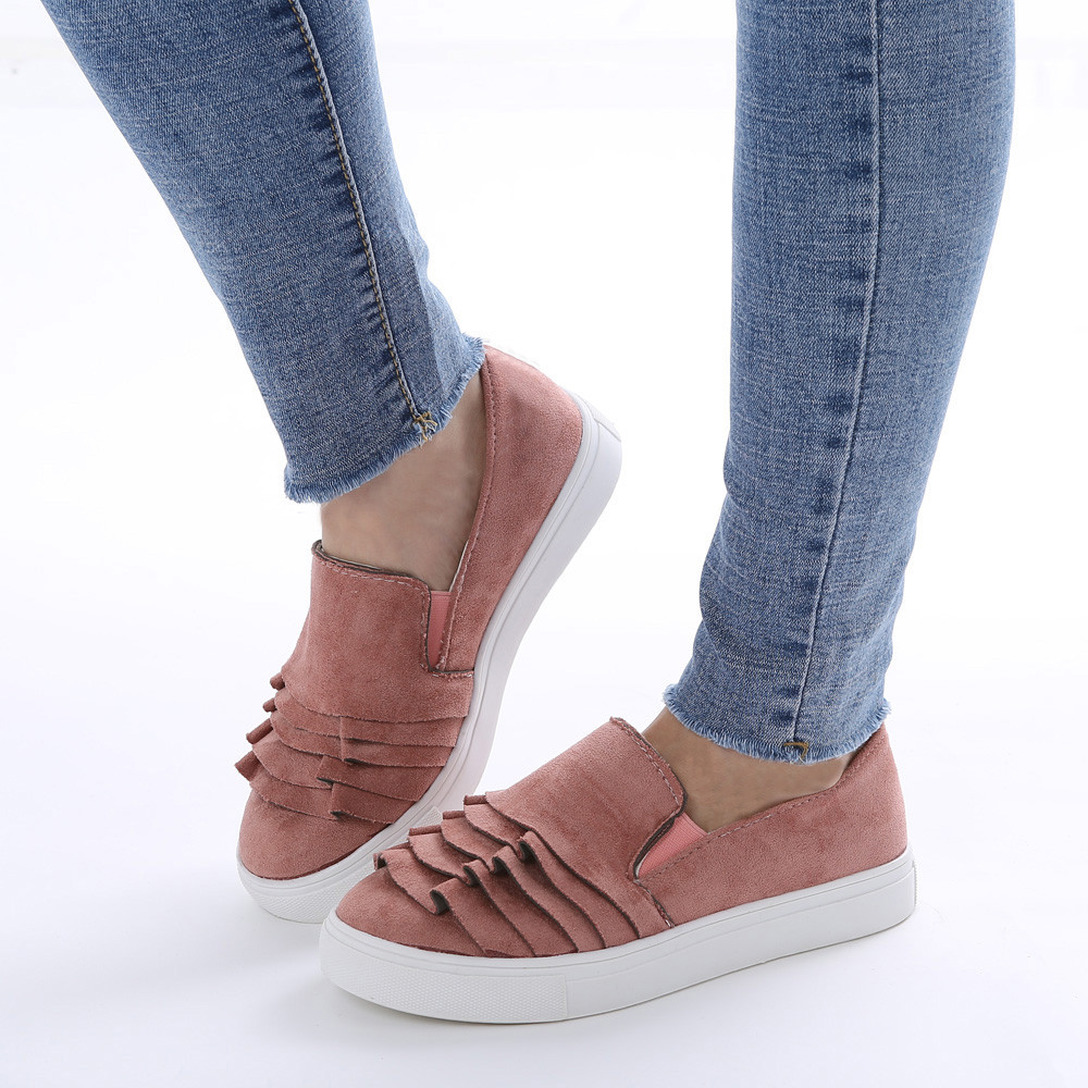 Women Lace Round Toe Flock Outdoor Shoes Female Flock Slip-on Shallow Breathable Flat Casual Shoes Woman
