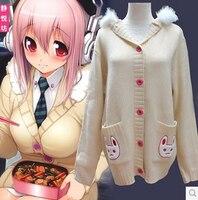 Anime super sonico Sonicomi cosplay cat's dance costume embroider rabbit ear lolita punk kawaii hoodie coat jacket