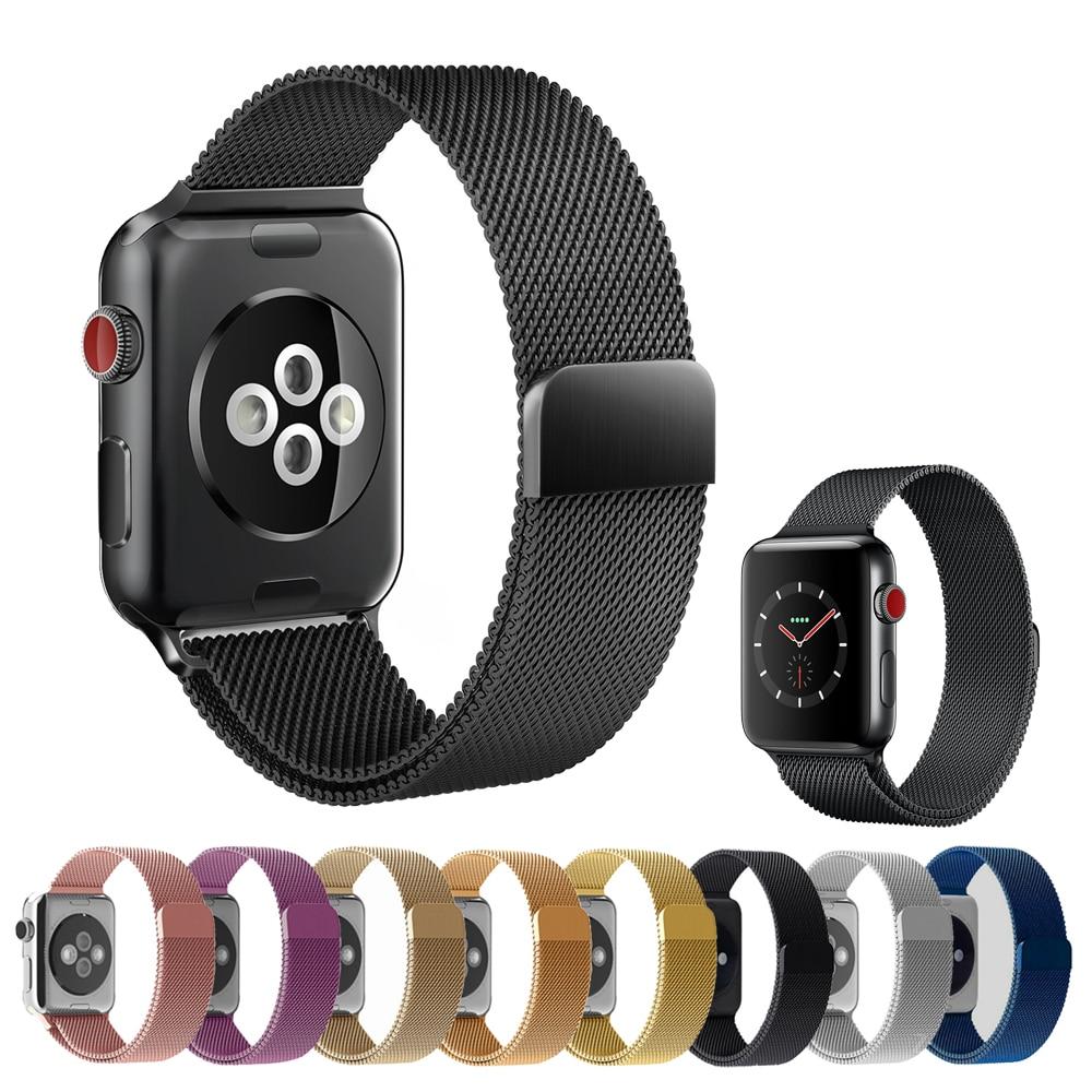 Milanese Boucle Pour Apple Montre de courroie de bande 42mm/38mm iwatch 3/2/1 En Acier Inoxydable lien Bracelet poignet bracelet magnétique boucle
