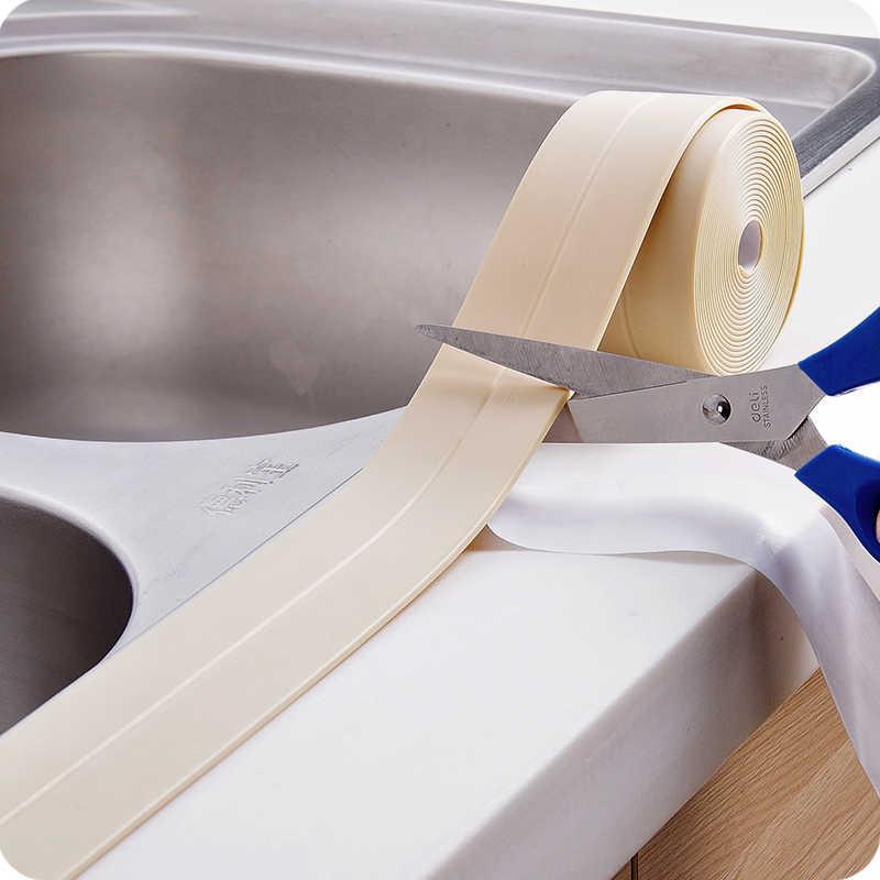بولي كلوريد الفينيل لاصق دائم استخدام 1 لفة المطبخ الحمام جدار شريط عزل الأدوات مقاوم للماء قالب برهان 3.2 متر x 3.8 سنتيمتر/2.2 سنتيمتر