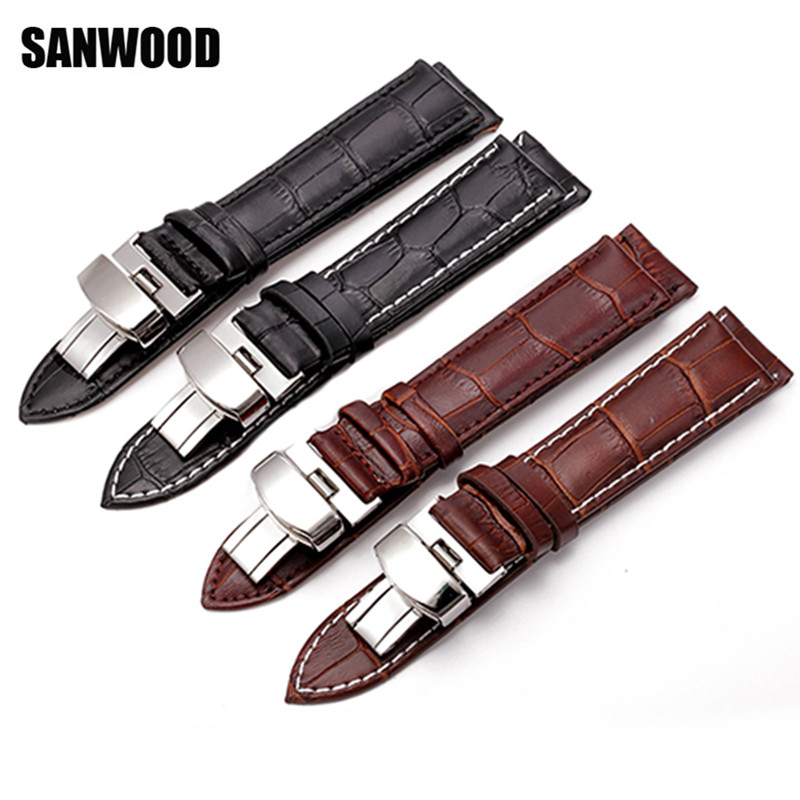 SANWOOD New Watch Black Watchbands Leather Strap Watch Band 18mm 20mm 22mm Foldable Clasp Wristband Watch Accessories Wristbands