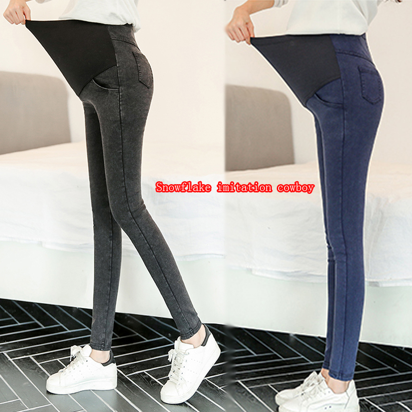 Spring And Autumn Models Of Imitation Cowboy Pregnant Women Trousers Pregnant Women Trousers Pencil Pants Backing Care Abdominal