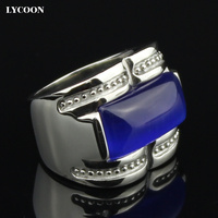Wholesale And Retail 316 L Stainless Steel Ring Fashion Luxury Jewelry Blue Cat Eye Ring In