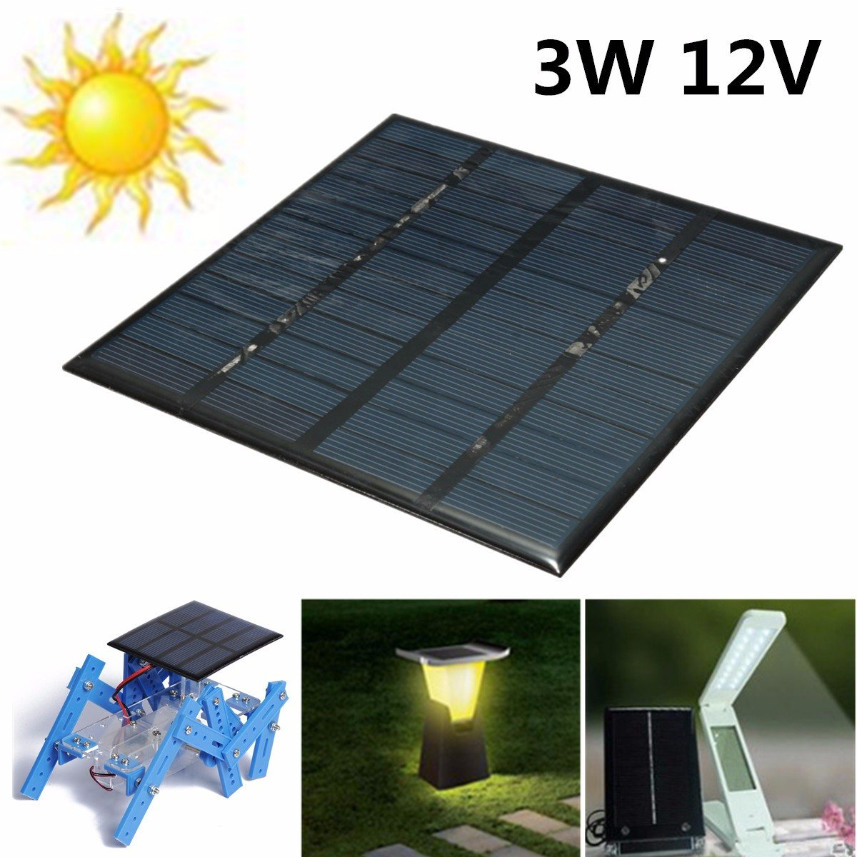 LEORY 3W 12V Solar Panel MINI DIY Battery Charger Power Bank Polycrystalline Silicon 145*145*2.5mm Solar Cell For System Supply