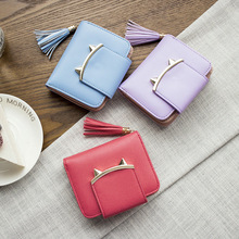 Tassel Women Wallet Small Cute Wallet Women Short Leather Wallets Cat Design Female Purse Lady Card Holder zipper purse PU Leath leftside designer pu leather women cute short money wallets with zipper female small wallet lady coin purse card wallet purses