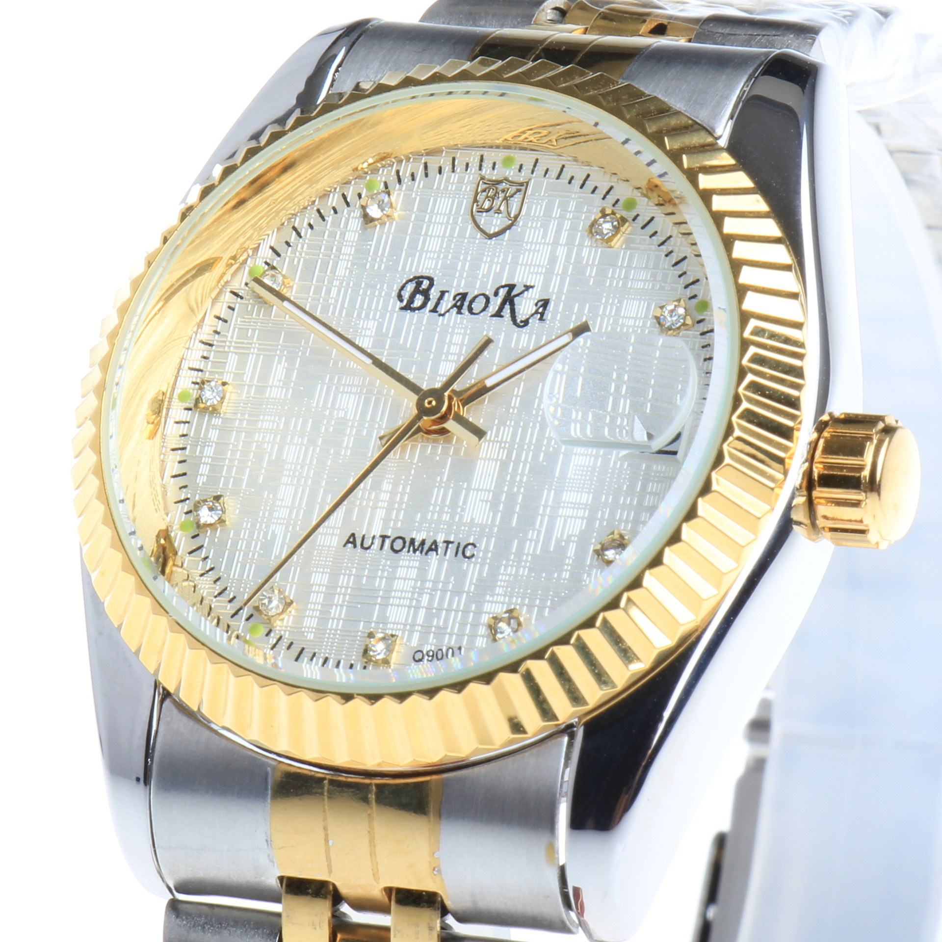 BIAOKA Watches Classic Mens AUTO Date automatic Mechanical Watch Self Winding Analog Skeleton Gold steel strip