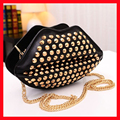 new 2016 woman bag/high quality pu rivet kiss lips chain shoulder bag/fashion big mouth messenger bag/shiny rivet crossbody bag