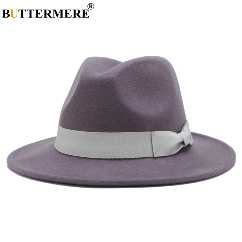 BUTTERMERE Wool Fedoras Women Camel Casual Felt Hat Lady Wide Brim Woolen  Jazz Hat Top Bowknot Autumn Winter Fedoras Caps Female-in Fedoras from  Apparel ... 8decb631316f