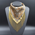 Elegant Women Silk Necklace Gold-plated Tassel Chain Fringed Scarves Cashew Print Triangle Scarf Soft 2016 Fashion New Product