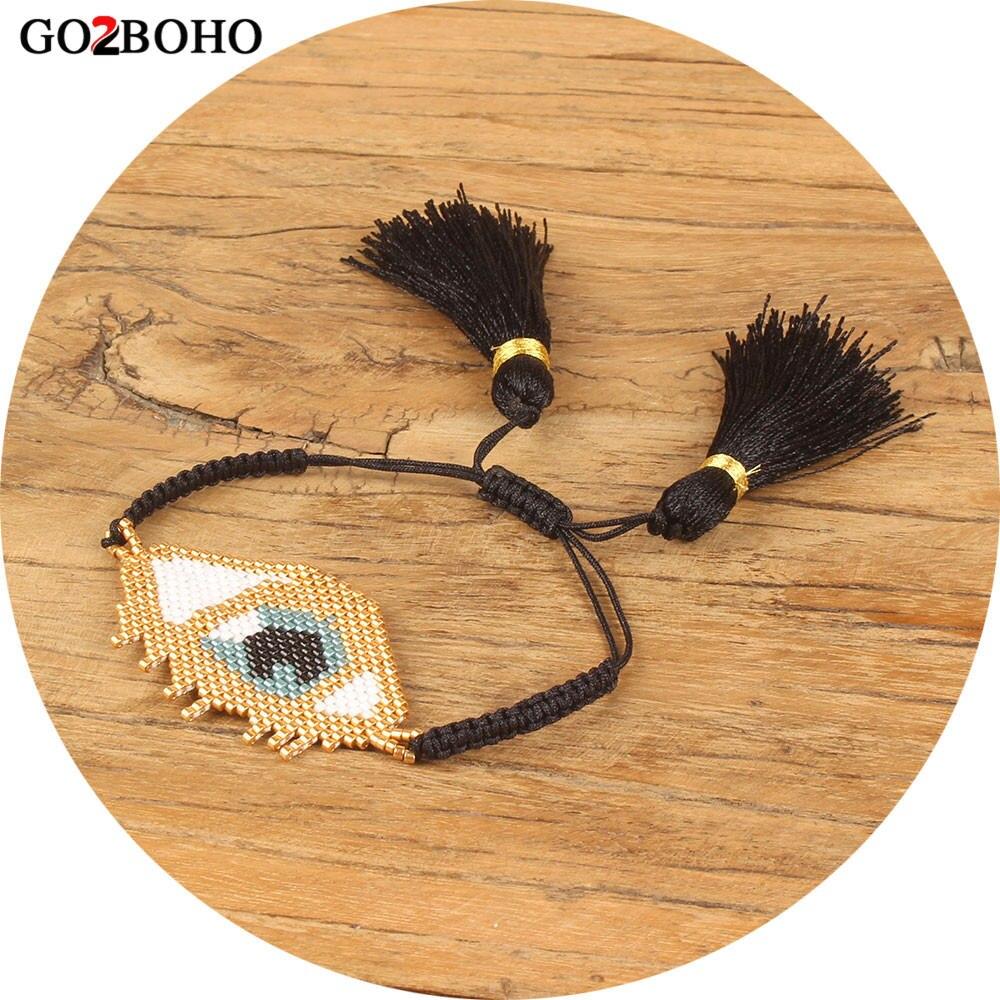 Go2boho Dropshipping Big Evil Eye Bracelet Evil Eye Bracelets Gold MIYUKI Seed Beads Friendship Tassel Women Her Jewelry Gifts все цены