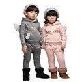 Otoño Ropa para Niños Juegos Para Niños Y Niñas Trajes de Algodón de Manga Larga Ropa Suéter Niño Con Alas de Dos piezas traje