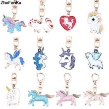 DIY Cute Animal Keychain Kawaii Rainbow Unicorn Rhinestone Keyholder Metal Key Chain Jewelry Unisex Gifts Drop Shipping(China)
