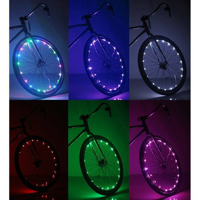 US $15 46 |Soondar Super Bright 20 LED Bicycle Bike Rim Lights Personalized  LED Colorful Wheel Lights Perfect for Safety and Fun Easy-in LED Strips