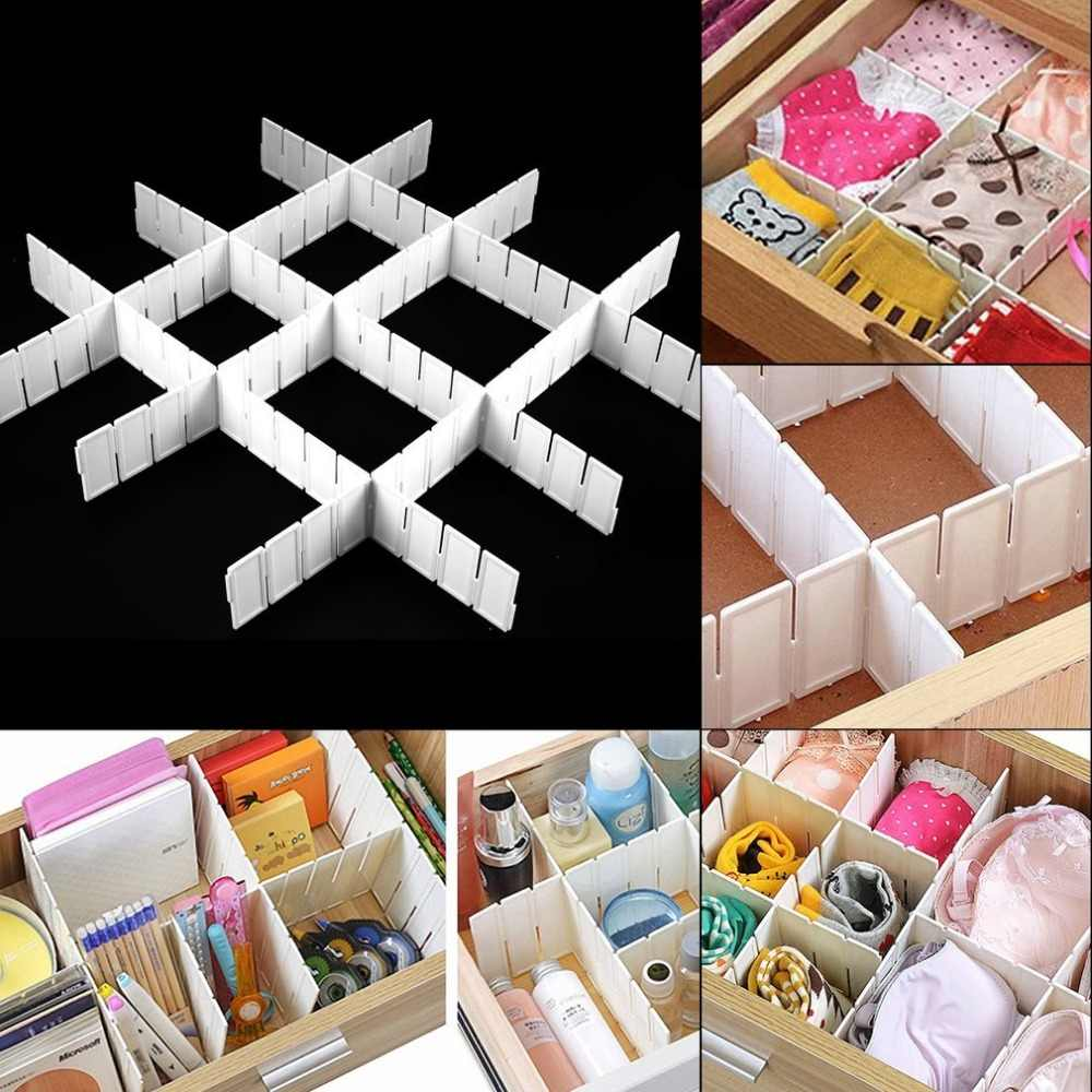 6Pcs Good Quality Practical Plastic DIY Grid Drawer Divider Household Office Necessities Storage Organizer Divider White