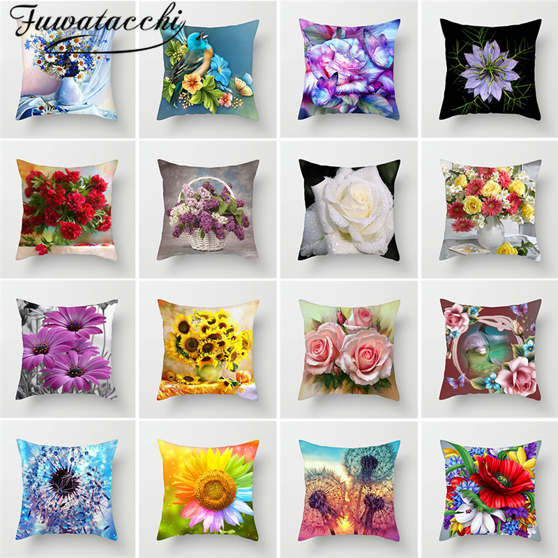 Fuwatacchi Pillow Cover Paintings Throw Pillows Cushion Cover Home Decor Couples Gifts Throw Randomly Sending