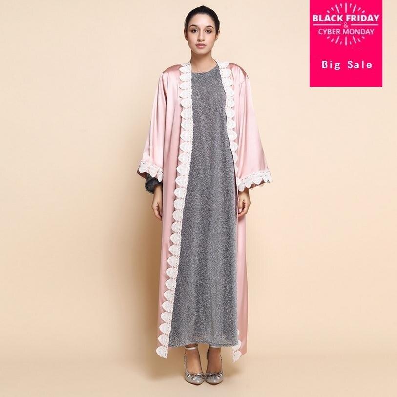 Adulte musulman tissu de soie cardigan abaya robe moyen-orient arabe broderie dentelle grande taille islamique rose outwear robes wj837