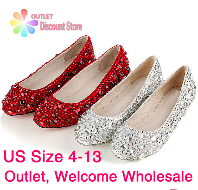 Rhinestone Women Shoes Silver Wedding Whole Bridal Low Heels Bridesmaid Red Crystal Party Evening