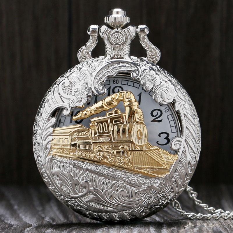 New Arrival Silver Gold Train Carved Steampunk Gears Skeleton Quartz Pocket Watch Pendant Men Clock Women Necklace Chain Gift